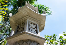 Part of architectural gate Buddhist temple in Vietnam. column. Royalty Free Stock Photo