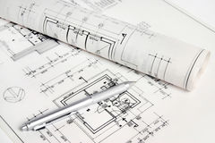 Part of architectural project. Blueprints and pen, part of architectural project Royalty Free Stock Photos