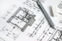 Part of architectural project. Blueprints and pen, part of architectural project Royalty Free Stock Image