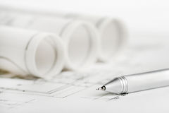 Part of architectural project. Blueprints and pen, part of architectural project Stock Image