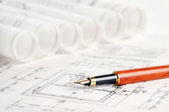 Part of architectural project. Blueprints and pen, part of architectural project Stock Photos