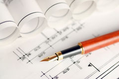 Part of architectural project. Blueprints and pen, part of architectural project Royalty Free Stock Photography