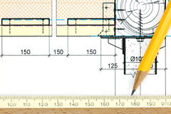Part of architectural project drawing, pencil and ruler Royalty Free Stock Image