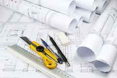 Architecture plans and tools Royalty Free Stock Images