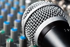 Part of an audio sound mixer. With microphone royalty free stock image