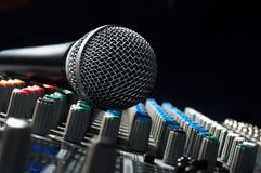 Part of an audio sound mixer. With a microphone royalty free stock photo