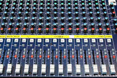 Part of an audio sound mixer Stock Image