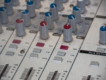 Part of an audio sound mixer with buttons Stock Images