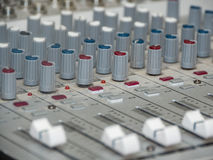 Part of an audio sound mixer with buttons Royalty Free Stock Photos