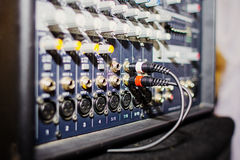 Part of an audio sound mixer with buttons and sliders Royalty Free Stock Image