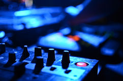 Part of an audio sound mixer with buttons and sliders Royalty Free Stock Photo