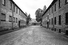Part of Auschwitz Concentration Camp,Barracks  in a concentratio Royalty Free Stock Photos