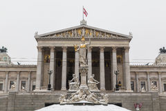 Part of the Austrian Parliament in the Winter Royalty Free Stock Photography