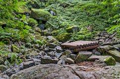 Part of authentic rockery and bridge in Vitosha mountain Royalty Free Stock Photography