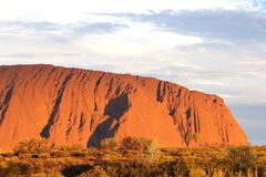 Part of Unesco Ayers Rock during sunset, Australia stock photography