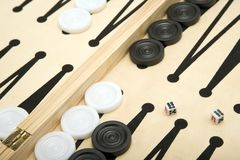 Backgammon. Part of a Backgammon set + Dice Stock Photo