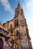 Part of beautiful Cathedral Notre Dame of Strasbourg in sunset light. Alsace, France. Part of beautiful Cathedral of Our Lady Notre Dame of Strasbourg, sunset royalty free stock photography