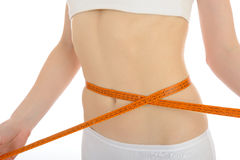 Part of beautiful fit slim woman body. In white underwearmeasuring waist. isolated stock photography