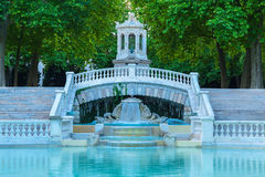 Part of beautiful fountain, Dijon. Part of beautiful fountain in Darcy park at evening. City of Dijon, Bourgogne Franche-Comte stock photos