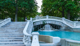 Part of beautiful fountain, Dijon Fr. Part of beautiful fountain in Darcy park at evening. City of Dijon, Bourgogne Franche-Comte stock image