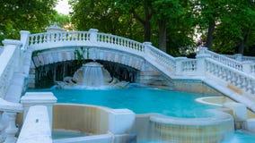Part of beautiful fountain. Dijon. France. Part of beautiful fountain in Darcy park at evening. City of Dijon, Bourgogne Franche-Comte royalty free stock photos