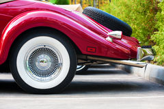 Part of beautiful red vintage car Royalty Free Stock Photos