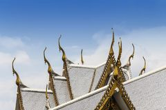 Part of the beautiful temple roof in Thailand. Wat sothon wararam worawihan with blue sky. Nice shape and details, Thai architecture stock images