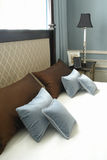 A part of bed. With a lot of pillows Stock Photography