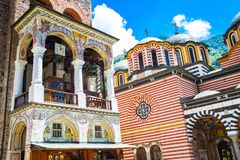 Part of bell tower and church in famous Rila Monastery, Bulgaria Royalty Free Stock Images