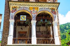 Part of bell tower in famous Rila Monastery, Bulgaria Royalty Free Stock Photos