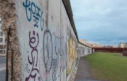Part of the berlin wall close up graffiti royalty free stock photography