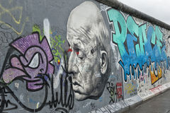 Part of Berlin Wall with graffiti Royalty Free Stock Images