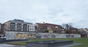 Part of the berlin wall in winter stock photos