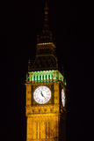 Part of Big Ben at night. Top Part of Big Ben at night, Great Clock of Westminster Royalty Free Stock Image