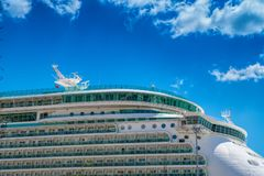 Part of big cruise liner in sea at sunny day. Stock Images