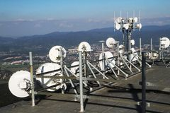 Part of big gsm tower. As nice technology photo Stock Photography