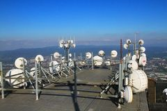 Part of big gsm tower. As nice technology photo Royalty Free Stock Image