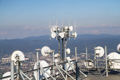Part of big gsm tower. As nice technology photo Royalty Free Stock Photo
