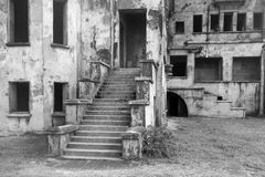 Part big old destroyed building monochrome tone Royalty Free Stock Photography