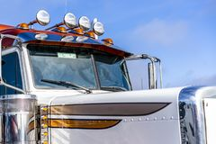 Part of big rig semi truck with audio horns on the roof royalty free stock photography