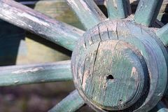 Part big wooden wheel for a gharry retro closeup Royalty Free Stock Photography
