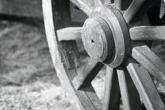 Part big wooden wheel for a gharry retro closeup Royalty Free Stock Images