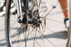 Part of Bike brake disc in close up. Sport Stock Image
