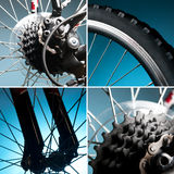 Part of the bike. wheel, tire, chain, sprocket. Part of mountain bike. wheel, tire, chain, sprocket stock image