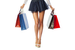 Free Part Body, Beautiful Female Slender Legs. Sexy Girl Holding A Pa Royalty Free Stock Image - 59183196