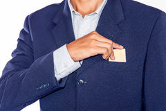 Part of body of business man who takes out business card Stock Photos