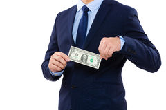 Part of body for businessman holding one dollar Stock Image