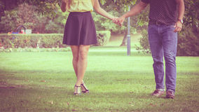 Part body of couple in park Royalty Free Stock Photos