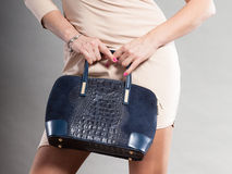 Part body of elegant woman with bag. Stock Image