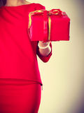 Part body lady with red gift. Stock Photos